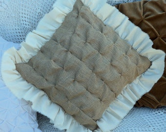 """Burlap Pillow Burlap Decor 16"""" x 16"""" Square Pillow COVER with French Style Smocking and Muslin Ruffles"""