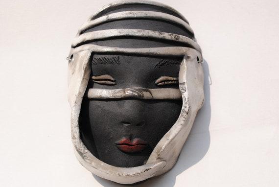 ceramic mask raku face art clay face garden home decor wall art mask