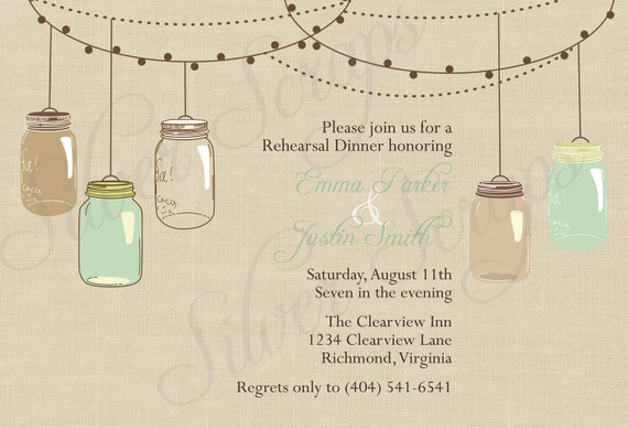 Items similar to vintage hanging mason jars custom for Mason jar beach wedding invitations