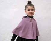 Girls Boiled Wool Cape - Amethyst Purple Hooded Capelet - Size 12 months 1T to 3T - Spring Kids Fashion Shrug