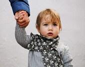 Organic Toddler Boys Scarf - Pirate Fabric Knit Tube Scarf - Winter Kids Fashion Accessory - Eco Friendly Gray White