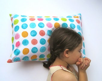 Polka Dot Pillow Sham Cover - Toddler Pillow Cushion - Baby Nursery Decor in Dotted Geometric Rainbow - Home Decor