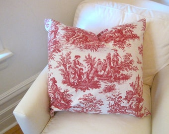 "Toile PILLOW Cover - 24"" Throw Pillow Sham - Vintage Antique French Country Cottage - Rustic Accent Cushion in Red White - Home Decor"