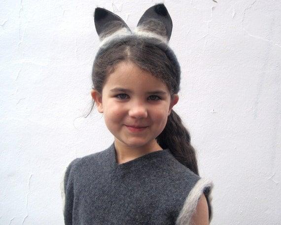Woodland Fox Costume - Halloween Girls Gray Fox Animal WOOL Hat and Tail - Waldorf Dress-up - Handmade by SewnNatural