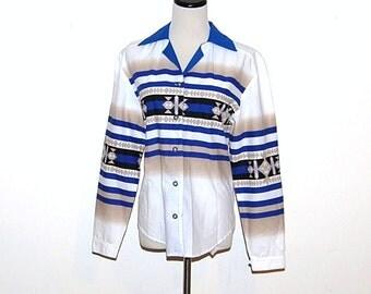 SALE........Vintage Shirt Western Tribal Blue