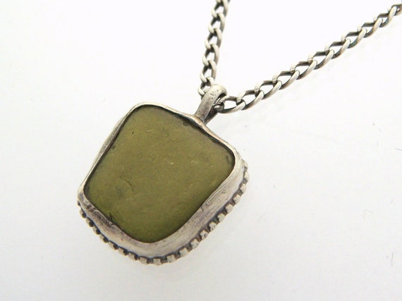 Olive Green Sea Glass and Silver Necklace - Sterling Silver Necklace  - Beach Glass Necklace - Sage Green Textured Necklace