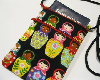 Fabric travel pouch, Neck wallet, Passport Holder, Small sling bag, Travel Accessory, Zipper Pouch - Matryoshka Doll, Zipper pockets