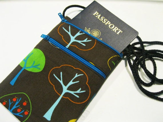 Small travel pouch Fabric passport holder Cell by KapomCrafts