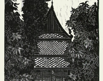 Temple Among the Mangoes, limited edition lino cut, hand printed, hand signed in pencil by artist