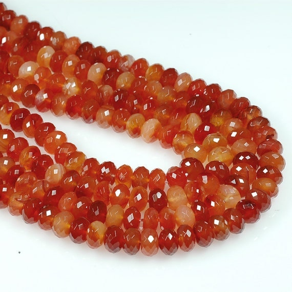 Premium CARNELIAN 8mm Faceted RONDELLE beads Red Orange Yellow Multi color - full strand