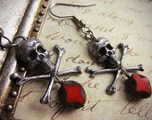 Pirate Skull and Crossbone Earrings with Weathered Red Picasso Cross Drops in Your Choice of Finish - Halloween Jewelry