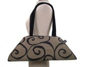 The Luxe Vegan Bag - Swirls - Black and Grey - Made to Order