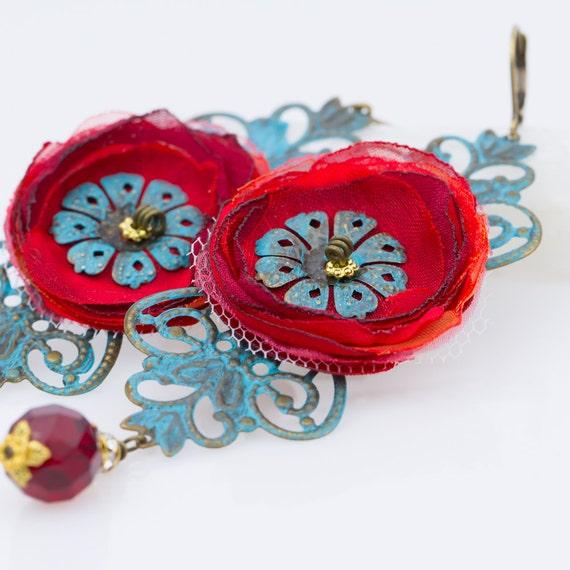 Harvest Blossoms - Boho Style Flower Chandelier Earrings - Ready to Ship - Handmade by VividColors