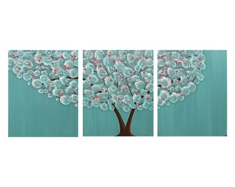 Teal Nursery Painting - Tree Wall Art on Canvas Triptych - Teal and Pink - Large 50x20