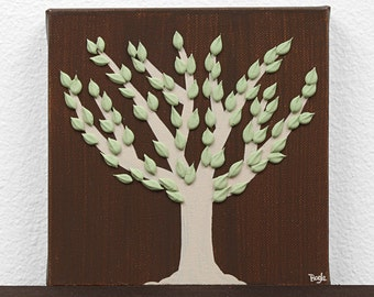 Gift for Him - Woodland Painting of Tree - Textured Canvas Art - Green and Brown Decor - Mini 6x6