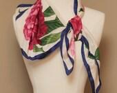 Floral 100% Silk Scarf Hankerchief, Vintage, one size