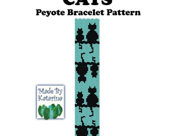 Peyote Pattern - Cats - INSTANT DOWNLOAD PDF - Peyote Stitch Bracelet Pattern - Cat Pattern - Two Drop Even Peyote Pattern - Peyote Bracelet