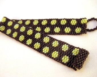 Peyote Bracelet / Beaded Bracelet in Chartreuse and Dark Chocolate Brown /  Polka Dots Bracelet /  Narrow Bracelet / Seed Bead Bracelet