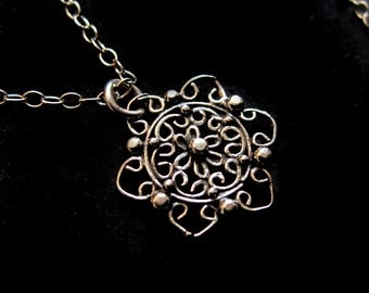 Delicate Sterling Silver Filigree Flower Necklace