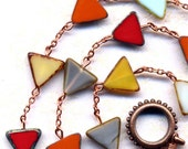 Necklace in Autumn Color Triangular Beads. Red and Yellow  Necklace,  Fall Color Necklace. Foliage Color Necklace. Jewelry by AnnaArt72