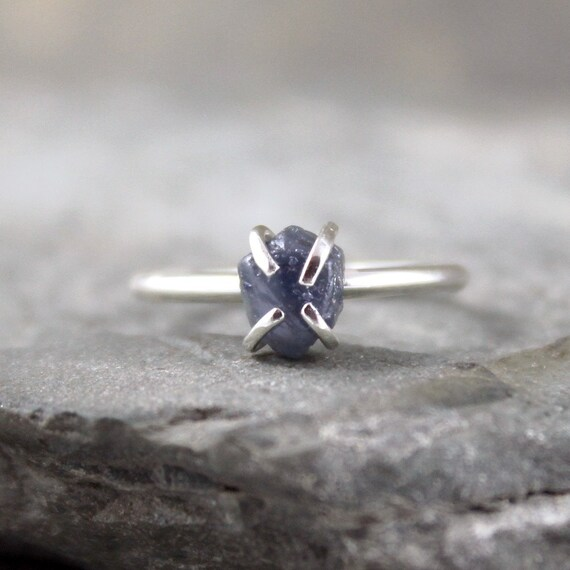 Uncut Raw Rough Blue Sapphire Ring - Sterling Silver Solitaire - September Birthstone - Stacking Ring - Engagement Ring - Birthstone Ring