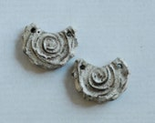 Chocolate Clay Spiral Textured Crescent Disc Beads One Pair