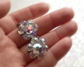 Vintage Aurora Borealis Iridescent Crystal Clip On Earrings. Silver Tone. Small Earrings. Sparkle. Formal. Flower. Rainbow. 1970s.