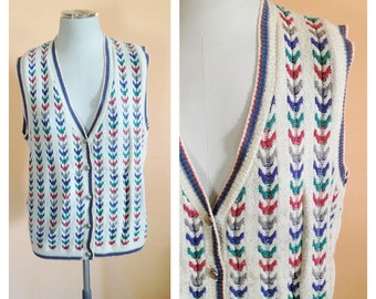 Vintage White Sweater Vest. Size Medium. Kitsch. Hipster Vest. Golf. Alfred Dunner. Grandpa Sweater. Cozy. 1980s. Pink. Green. Blue. Soft.