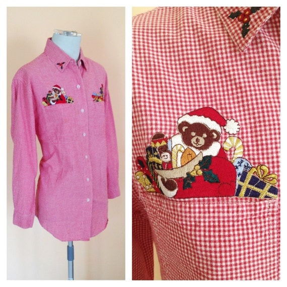 Vintage Red and White Checked Christmas Blouse. Santa. Size Medium. Holiday. Button Up Blouse. Cotton. Bear. Cute. Solutions. 1990s.