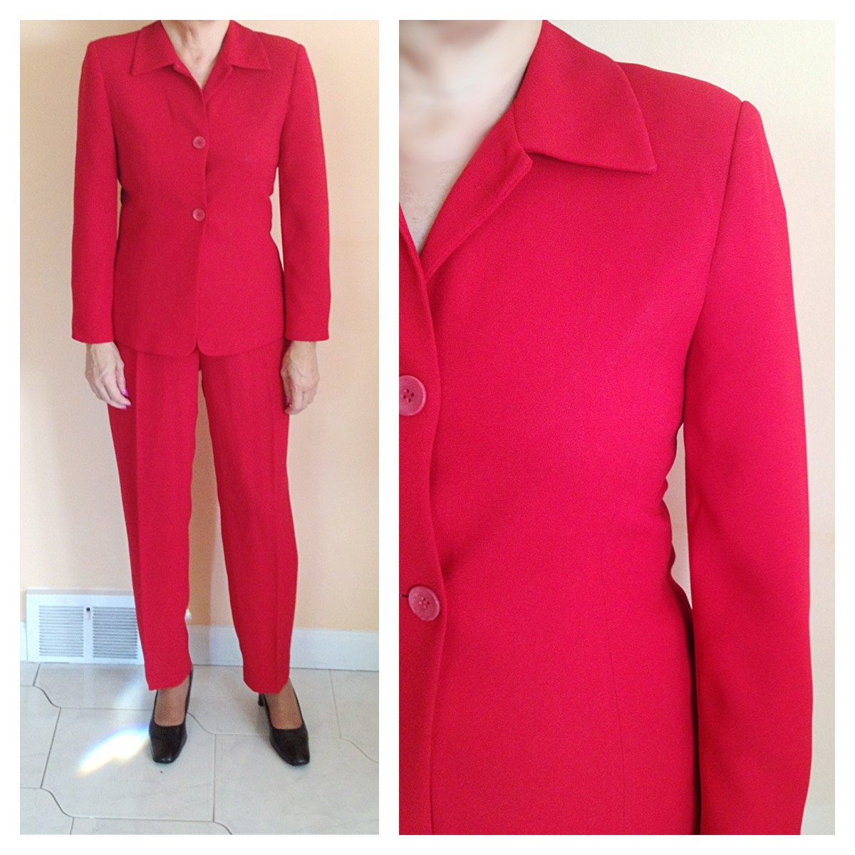 Vintage red pants suit christmas holiday by nicolenicoletta