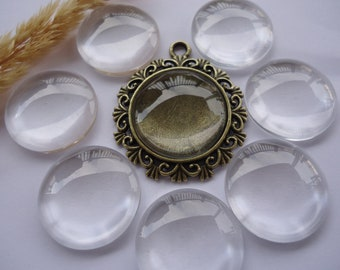 20 Clear Round Glass Domes Cabochons 20mm Perfectly Smooth Edges Flat Back