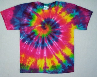 Childrens-Rainbow Spiral Tie Dye Size Youth Medium