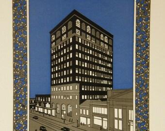 Art Deco Print: Vintage Color Engraving of Roaring 20's Calendar Design, US Nat'l Bank, Johnstown, PA - Optional Mat
