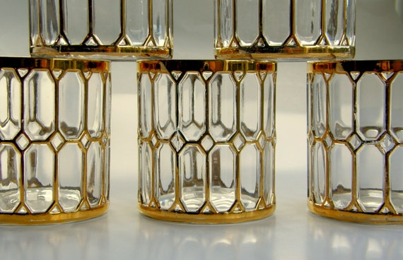 Spanish Windows Gold Mid-Century Rocks Tumblers - Imperial Glass Set of 6, Free Shipping USA