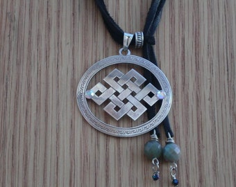 Sterling Silver Endless Knot with Jasper Clasp