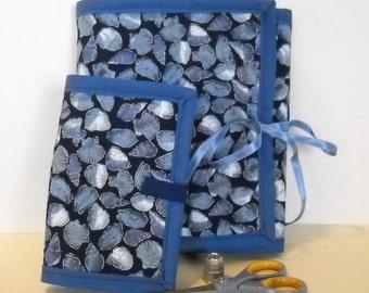 Seashells Sewing Caddy, Needle Book, Hand Sewing Organizers