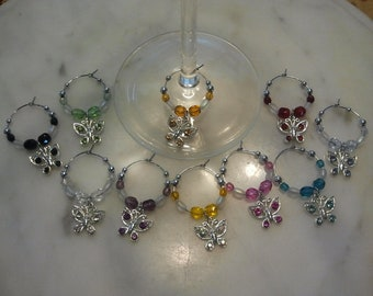Butterfly Butterfliles set of 10 with rhinestones  Wine Charms with Pouch