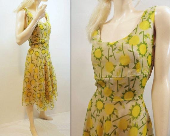 Yellow Floral Dress Vintage Party Dress Summer Garden Party 1980s Sunflower Dress Size / m