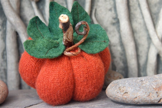 Dark Orange Pumpkin Gourd Ecofriendly wool Halloween Thanksgiving Home Decor (woolcrazy)