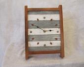 Rustic reclaimed wood mantel / desk clock