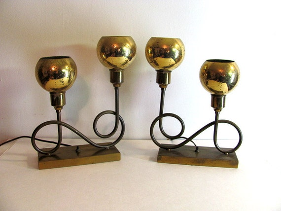 Vintage 40s 50s Mid Century Matching Pair of Brass Lamps