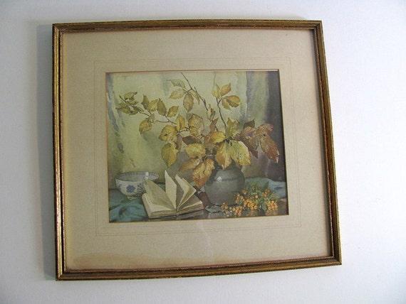 Vintage botanical glass framed picture of flowers / floral bouquet