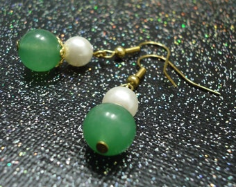 Pearl and Light Aventurine Dangles