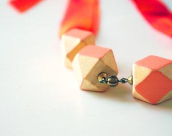 Geometric Beaded Silk Ribbon Necklace in Coral & Orange.