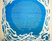 Leaves and Waves - Papercut Ketubah - calligraphy - wedding artwork