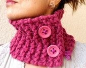 Magenta Scarf Raspberry Fuschia Pink Cowl Hand Knit With Big Buttons Neck Warmer