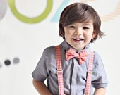 Orange and Pink Striped Bow Tie and Suspenders