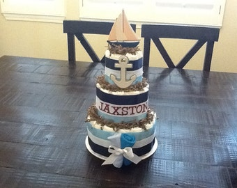 Nautical Beach Themed Diaper Cake Sailboats, lighthouses, whales, other sizes and colors too