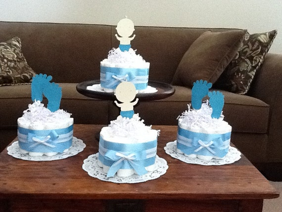 Items similar to baby feet diaper cake baby shower for Baby feet decoration