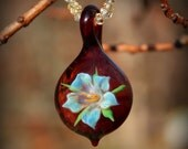 Silver Lily and Bright Garnet, Bloomed Flower Bella Glass Slide Pendant